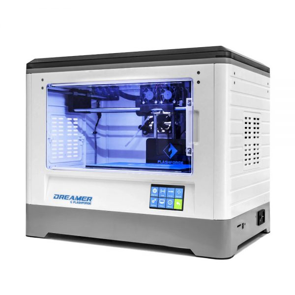 Flashforge Dreamer 3D-printer voor ABS, PLA & PVA filament voorkant links