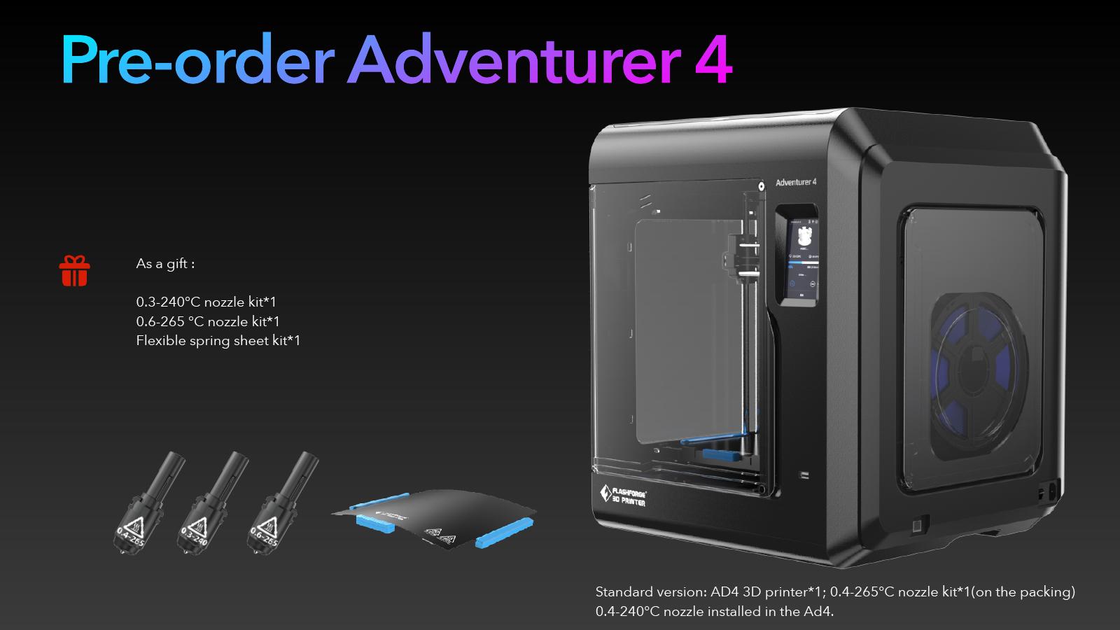 Pre-order Flashforge Adventurer 4 met gratis gift